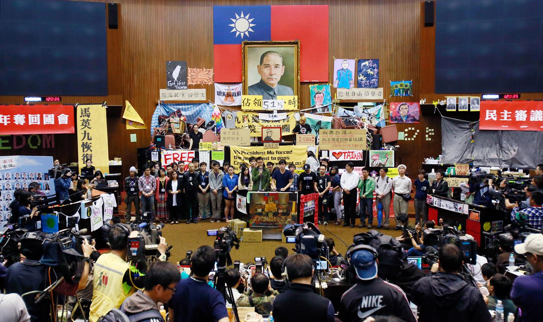 台湾2014年的太阳花运动中,青年们占领了立法院。