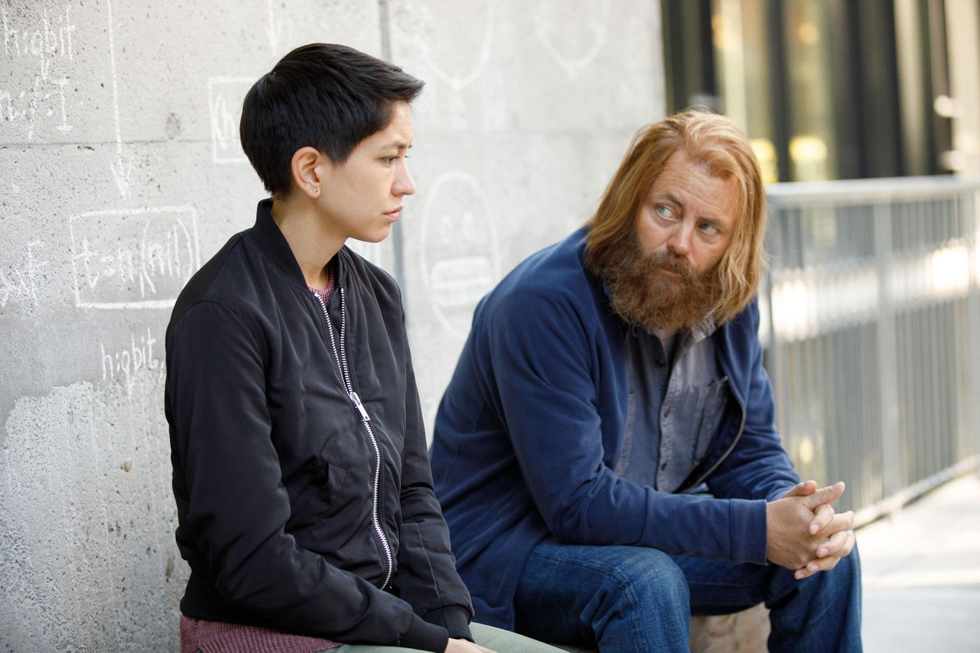 在《开发者》的一个场景里,主角Lily Chan与Forest聊天。 (来源:FX)