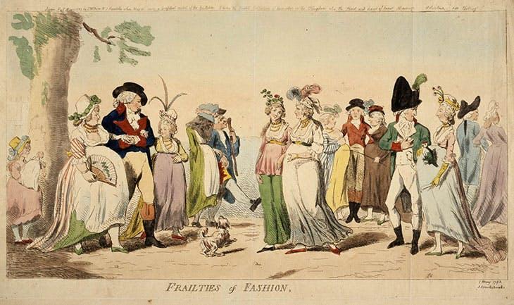漫畫家艾薩克.克魯克香克以諷刺畫記錄當時婦女穿著肚墊的潮流 圖片取自大英博物館,1793年
