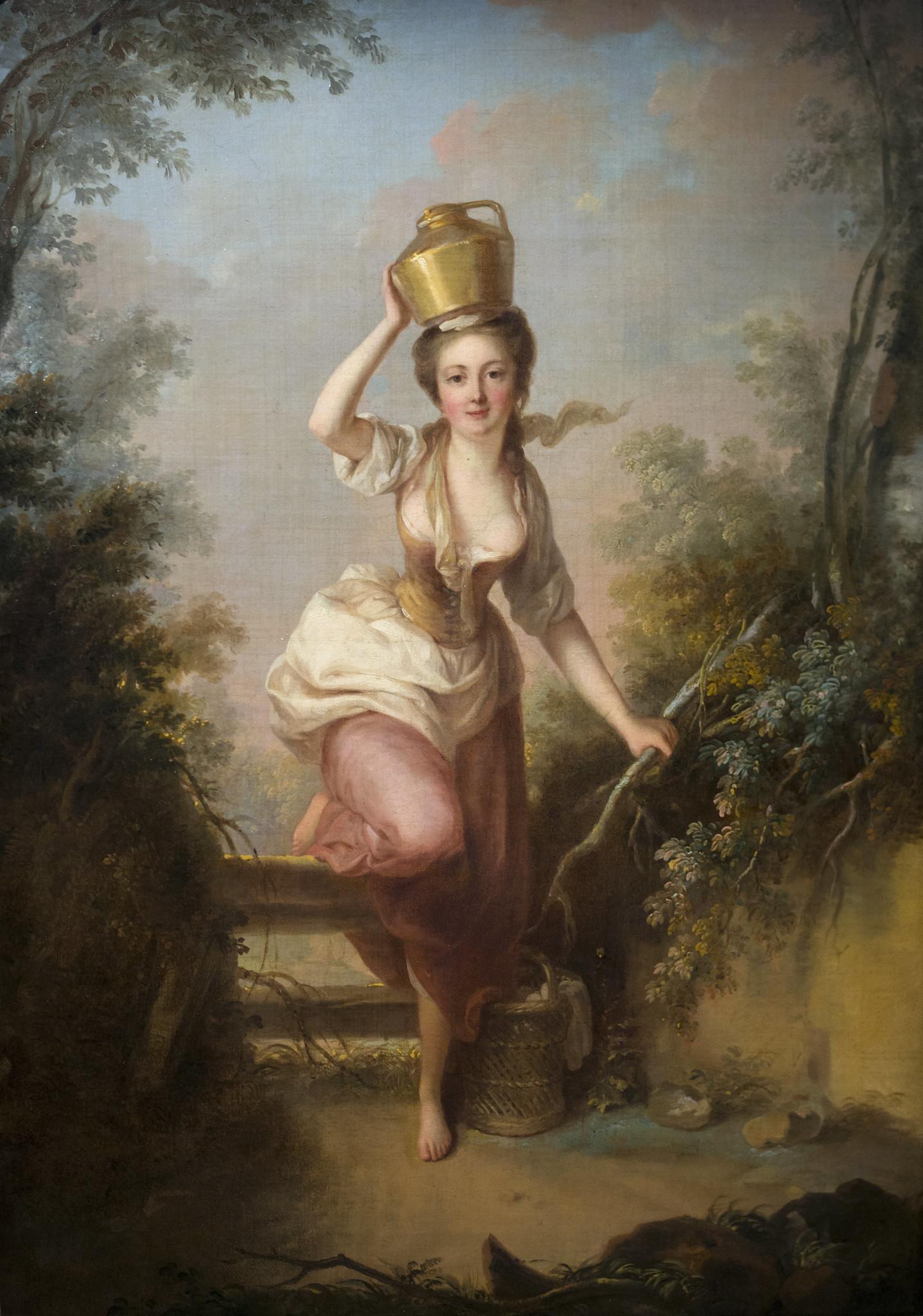 巴黎洛可可画家Jean-Baptiste Huet 1769年的画作《La Laitière (The Milkmaid)》。(Musée Cognacq-Jay /Flickr)
