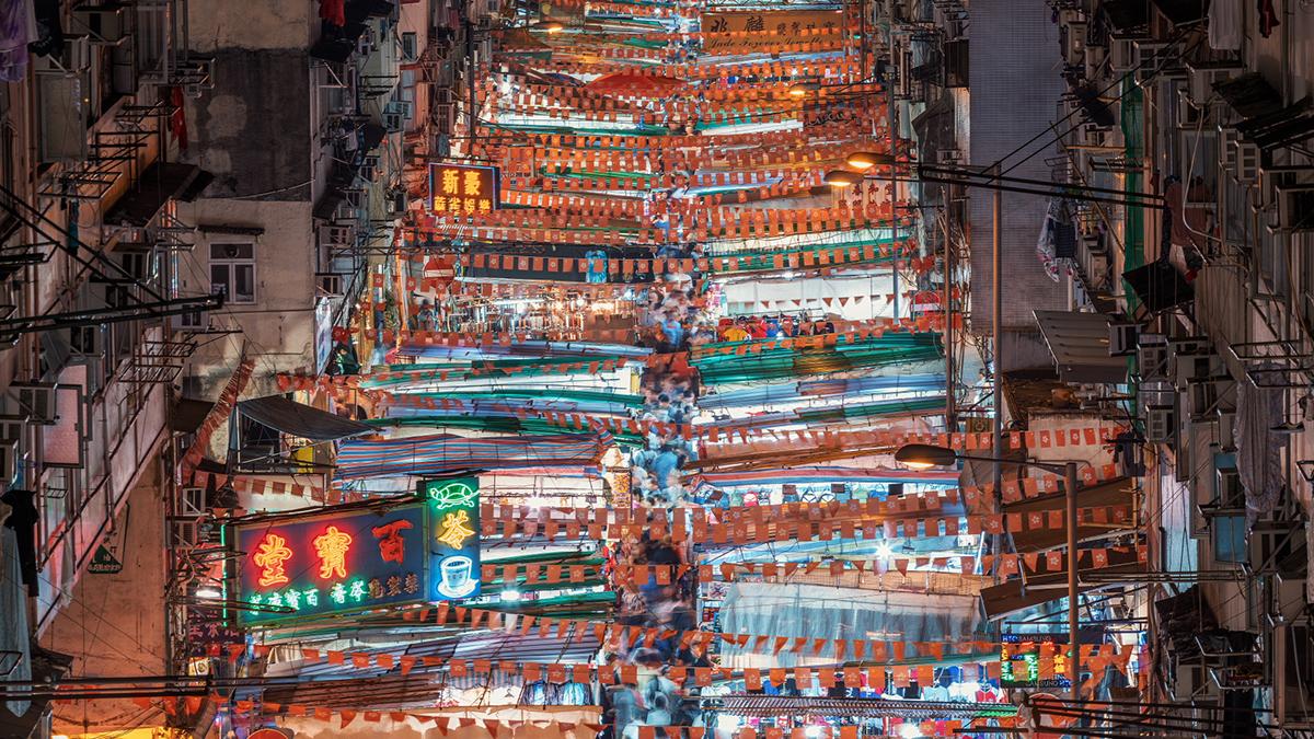 香港夜市。(图:Envato Elements)