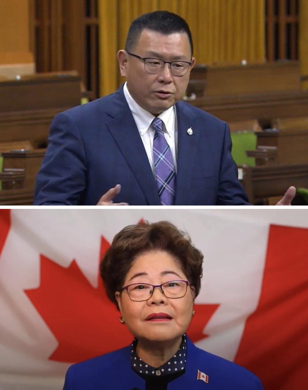 前保守党的年事务部长黄陈小萍(下)和议员赵锦荣(上)