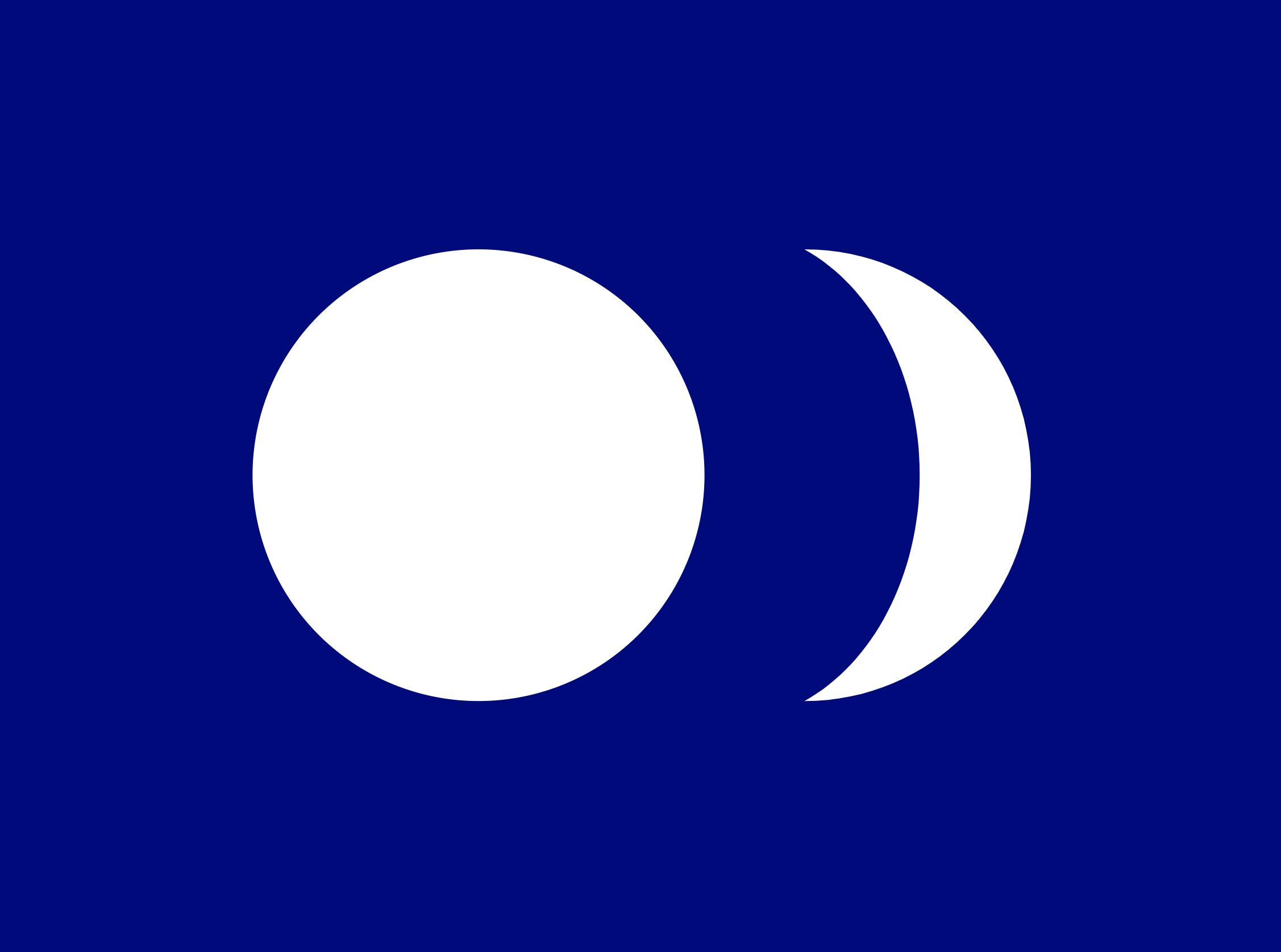 """""""台湾共和国""""廖文毅设计的""""蓝地、白色日月""""国旗"""